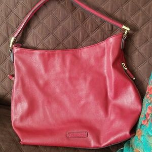 Liz Claiborne Red Faux Leather Tote